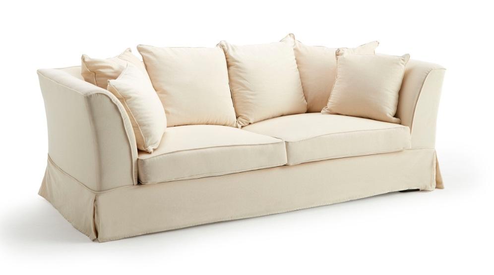 Sofa clasico goya tela beige 4 plazas