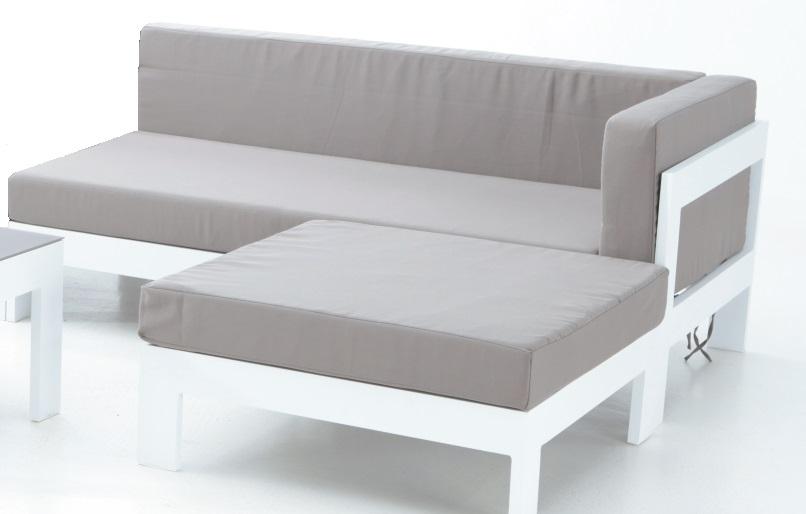 Sofa izquierdo dos plazas blanco Laos