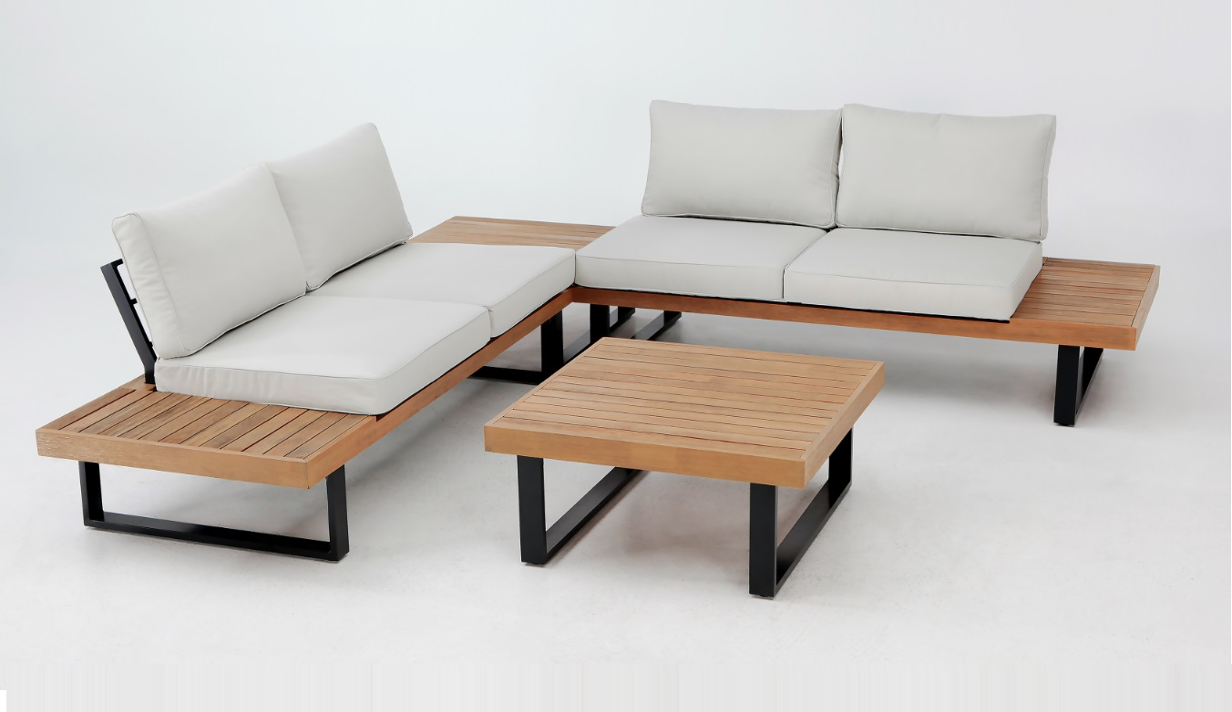Set Libano madera aluminio gris antracita