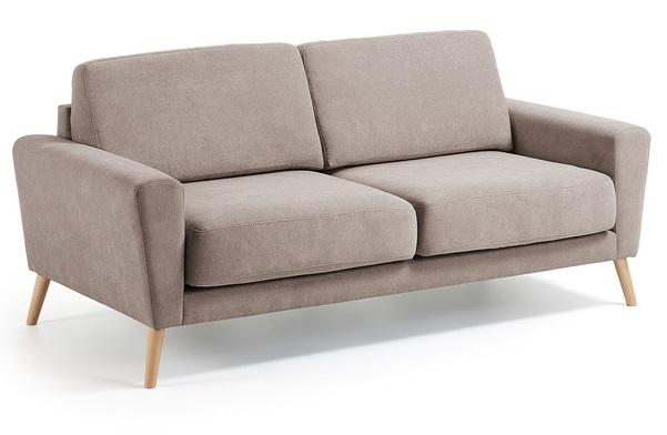 Sofa 3 plazas lido marron pies haya