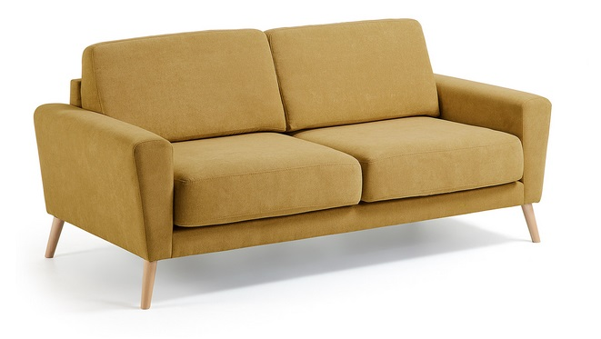 Sofa 3 plazas lido mostaza pies haya