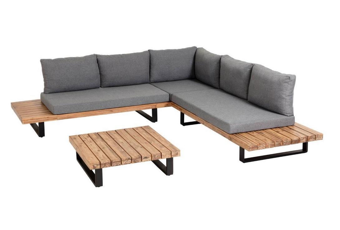 Sofa rinconero Milo acacia natural cojines gris