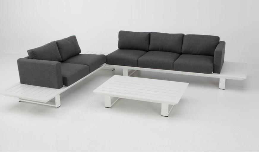 Sofa terraza rinconera Jambo lamas aluminio blanco