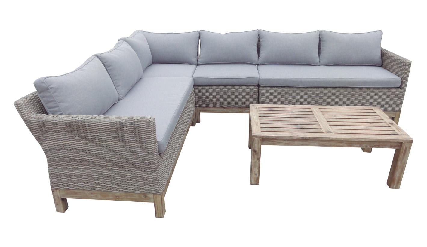 Sofa esquinero terraza rattan madera natural Valeria