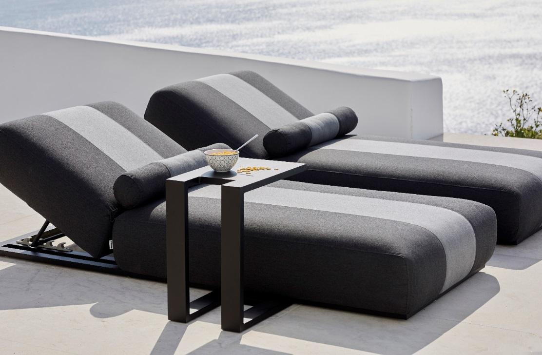 Delos tumbona terraza lounge tapizado nautico gris