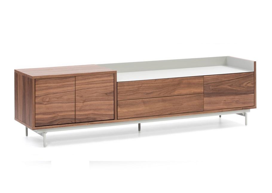 Valley mueble nogal bandeja gris claro 180 cm