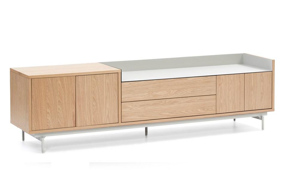 Valley mueble roble bandeja gris claro 180 cm